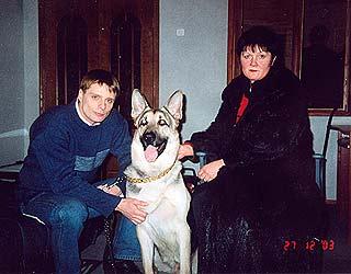 А.Носик, Л.Тарасова и Варгун 2003 г. на съемках фильма «Возвращение Мухтара».