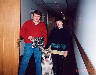 В.Низовой, Л.Тарасова и Варгун 2003 г. на съемках фильма «Возвращение Мухтара».